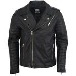 Pánská černá kožená bunda Jack & Jones