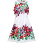 Bílé šaty Louche Syreta s květinovým potiskem