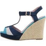 Modré sandálky Refresh na slaměném klínku