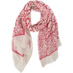 Bílo-růžový šátek INVUU London se vzorem