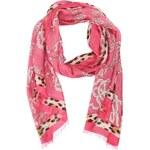 Růžový šátek INVUU London s leopardím vzorem