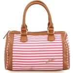 Střední proužkovaná kabelka Refresh v růžovo-bílé