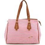 Velká proužkovaná kabelka Refresh v růžovo-bílé
