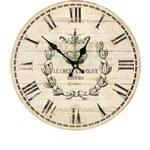 Dřevěné vintage hodiny v béžové barvě Dakls