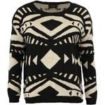 Černo-béžový svetr AX Paris s aztéckým vzorem