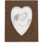 Hnědý rámeček Dakls s průřezem ve tvaru srdce