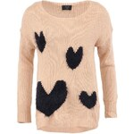 Dlouhý růžový srdcový svetr AX Paris