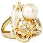 Romantický prstýnek INVUU London s perličkou a kamínky