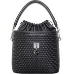 GOSHICO - Kožená kabelka/vak - bucket bag REBEL (černý lak) - 1568