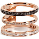 Nikos Koulis 18kt Red Gold Ring with Black and White Diamonds