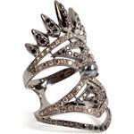 Nikos Koulis 18kt Black Rhodium Spectrum Ring with Diamonds and Hematite