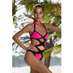 Dámské jednodílné plavky She Jill Blue Ocean Růžovo-oranžovo-černá 40B