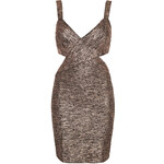 Topshop **Bronze Metallic Stripe Bodycon Dress by WYLDR