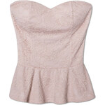 Tally Weijl Pink Lace Embroidered Peplum Bustier Top