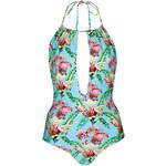 Topshop Tropical Halter Swimsuit
