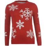 Star Xmas Fair Isle Knitted Sweatshirt dámské Red/Cream Flake 8 (XS)