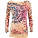 Světlé tričko Desigual Telma s barevnými ornamenty