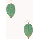 Forever 21 Down-To-Earth Leaf Drop Earrings