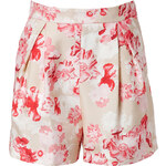 Giambattista Valli Floral Print Silk Shorts in Pink