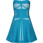 Hervé Léger Strapless Tidal Wave Mesh Top Dress