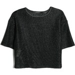 MANGO Kurzes Metallic-T-Shirt