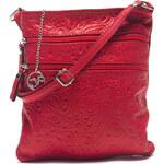 Carla Ferreri Elegantní kožená crossbody kabelka 2060 Rosso