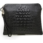Dámská kabelka / psaníčko, dekor krokodýl - černá barva