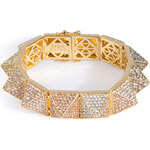 Eddie Borgo Gold-Plated Pyramid Bracelet with Crystal Embellishment
