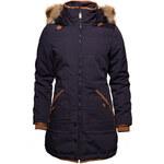 Glam Dámský zimní kabát modro - béžový s kapucou a chlupem - S
