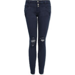 Tally Weijl Blue Skinny Pants with 3-Buttons & Rips