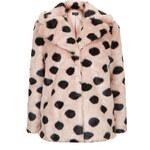 Topshop Faux Fur Polka Dot Coat