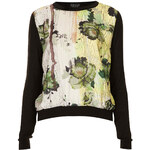 Topshop Knitted Woven Print Jumper