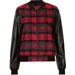 Topshop Check Wool Faux Leather Bomber