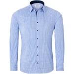 Vincenzo Boretti Světle modrá košile, kostička s tmavými doplňky