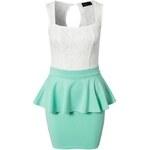 LM moda Peplum šaty mentolové s krajkou OH713