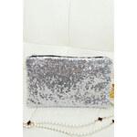 LM moda Společenská kabelka, psaníčko s flitry stříbrné