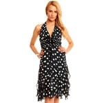 LM moda Letní šaty černé s puntíky