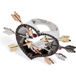 Delfina Delettrez Gold/Silver Hearts and Arrow Ring with Diamonds and Rubies