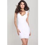 Bílé krajkové párty šaty dlouhé na stehna