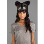 Anna Sui Jeweled Cat Hat in Black