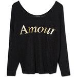 "Tally Weijl Black Sheer ""Amour"" Knitted Long Sleeve Top"