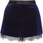 Topshop Velvet Lace Trim Runner Shorts