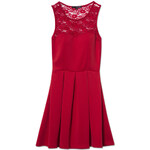 Tally Weijl Red Neoprene Skater Dress with Lace