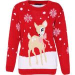 Červený svetr Deer Christmas S/M