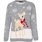 Šedý svetr Deer Christmas L/XL