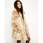 ASOS Faux Fur Leopard Print Coat - Brown