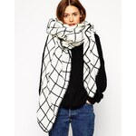 ASOS Oversized Grid Check Square Scarf - White