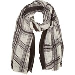 Marks and Spencer M&S Collection Lightweight Wavy Checked Scarf with Linen