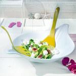 FofrAKCE LEAF M set salátová mísa a salátový příbor KOZIOL (barva-BÍLÁ/LIMETKOVÁ-OLIVOVÁ)