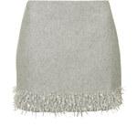 Topshop Crystal Hem Melton Wool Skirt